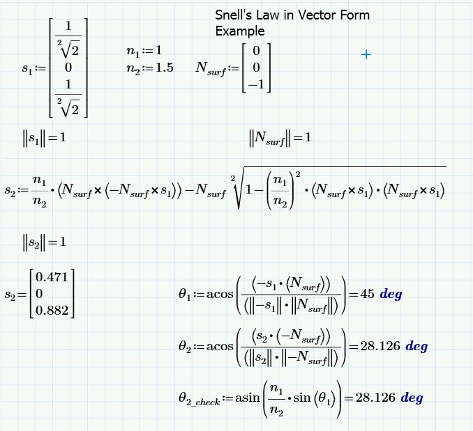 Vector Form of Snell's Law